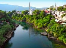 Landscape of the city of Mostar, Bosnia and Herzegovina. Royalty Free Stock Photos