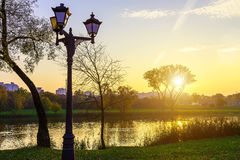 Landscape of City Park with Lanterns by Lake Royalty Free Stock Images