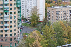 Landscape of city quarter in cloudy autumn day Royalty Free Stock Photo