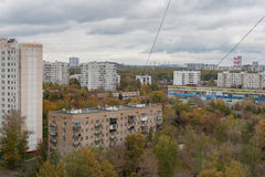 Landscape of city quarter in cloudy autumn day Stock Photo
