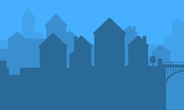 Landscape of city silhouettes vector art. Collection stock Stock Image