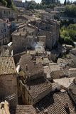 Sorano, Maremma, Tuscany, Italy, Europe. Landscape of City of Sorano, in Maremma of Tuscany, in Italy, old buildings and roofs Stock Images