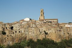 Sorano, Maremma, Tuscany, Italy, Europe. Landscape of City of Sorano, in Maremma of Tuscany, in Italy, old buildings Stock Photography