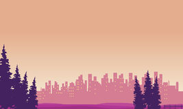 Landscape city and spruce silhouettes Stock Images