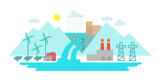 Landscape city. Terrain river and lake. Solar energy. Hydroelectric power station. Illustration vector. The blue tones flat style Royalty Free Stock Photo