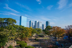 Landscape city view from Osaka Castle Royalty Free Stock Photo