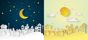 Landscape City Village with nighttime and daytime urban. Paper art Royalty Free Stock Photography