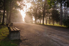 Landscape,cityscape,Parks. Sun is rising over the park.Nearby benches and fog Royalty Free Stock Image