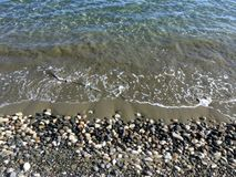 Landscape with clear calm sea waves near stone seacoast royalty free stock images