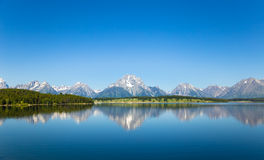 Landscape with clear mountain lake. In Grand Teton stock image