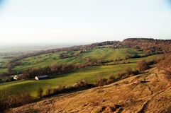 Landscape of Cleeve hill in the Cotswolds Stock Images