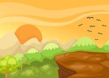 Landscape cliff in the jungle. Illustration of landscape cliff in the jungle Royalty Free Stock Images