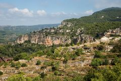 Landscape from a cliff at Siurana royalty free stock photos