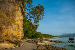 Landscape: cliffs and the sea with boats. Boracay island. Philippines. Royalty Free Stock Images