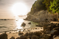 Landscape: cliffs and the sea with boats. Boracay island. Philippines. Stock Image