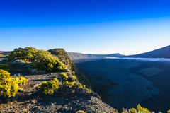 Landscape with cliffs of the volcanic area at Reunion Island Stock Photo