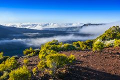 Landscape with cliffs of the volcanic area at Reunion Island Royalty Free Stock Images