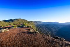 Landscape with cliffs of the volcanic area at Reunion Island Royalty Free Stock Photography