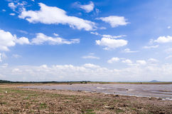 Landscape of cloud and dry field Stock Images