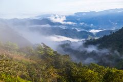 Landscape with clouds, jungles, mountains and crops Andes, Ecuad. Landscape with clouds, jungles, mountains and crops of the northwestern region of the Andes Royalty Free Stock Image