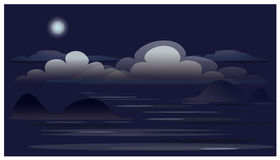 Landscape with clouds, Moon, ocean. stock photos