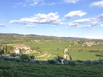 Countryside landscape, Vineyards in Valpolicella, Province of Verona, northern Italy, Italy. Landscape with clouds and vineyards, in the Valpolicella wine region royalty free stock images