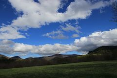 Landscape and cloudy sky in Pyrennes. Royalty Free Stock Image