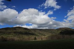 Landscape and cloudy sky in Pyrennes. Stock Image