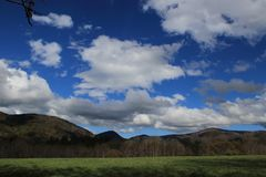 Landscape and cloudy sky in Pyrennes. Stock Photo