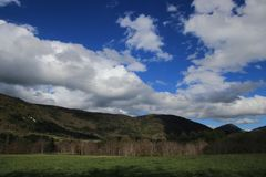 Landscape and cloudy sky in Pyrennes. Stock Images