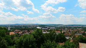 Landscape with Cluj Arena Stadium, the Polyvalent Hall and city center of Cluj Napoca. Picture taken on June 21, 2017 at Cluj-Napoca, showing the Cluj Arena stock photos