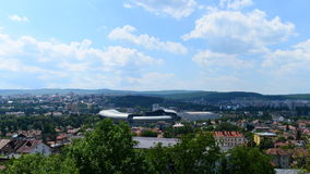 Landscape with Cluj Arena Stadium and the Polyvalent Hall in Cluj Napoca city. Picture taken on June 21, 2017 at Cluj-Napoca, showing the Cluj Arena Stadium, the royalty free stock photos