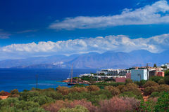 Landscape coast of the Bay of Mirabello Royalty Free Stock Photography