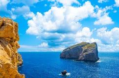 Landscape of coast of Capo Caccia. Sea, blue, coastline, italy, sardinia, summer, sky, water, mediterranean, vacation, travel, nature, tourism, rock, beautiful stock image
