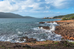 Landscape of coast of Capo Caccia at sunset. Landscape of coast of Capo Caccia from Punta Giglio at sunset in winter Stock Images
