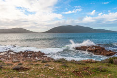 Landscape of coast of Capo Caccia at sunset. Landscape of coast of Capo Caccia from Punta Giglio at sunset in winter Stock Photos