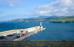 Landscape at the coast of Isle of Man. With the pier stock images