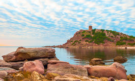 Landscape of the coast of Sardinia, Porticciolo. At sunset Royalty Free Stock Photo