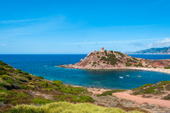 Landscape of coast of Sardinia. Tower of Porticciolo Stock Images