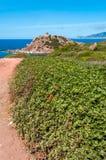 Landscape of coast of Sardinia. Tower of Porticciolo Stock Image