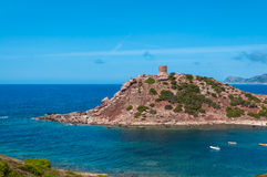 Landscape of coast of Sardinia. Tower of Porticciolo Stock Photography
