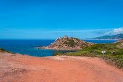 Landscape of coast of Sardinia. Tower of Porticciolo Stock Photos