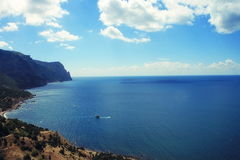 Landscape coast of Ukrainian Black Sea. Beautiful landscape coast of Ukrainian Black Sea of mountain and beach sky surf Royalty Free Stock Photos