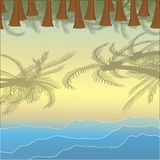 Landscape with coast and waves. Beach. Rolling waves. Palm grove. Vector illustration Royalty Free Illustration