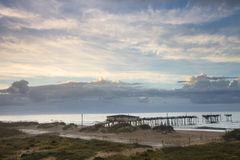 Coastal Clouds Pier Hatteras North Carolina Stock Photos