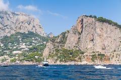 Landscape with coastal rocks of Capri island Royalty Free Stock Photography