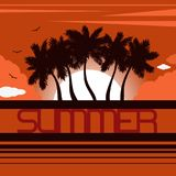 Landscape with coastline silhouettes of palm trees, sunset, sun, clouds and birds. Lettering `Summer`. Tropical resort. Flat style. Vector illustration stock illustration