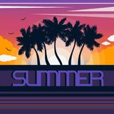 Landscape with coastline silhouettes of palm trees, sunset, sun, clouds and birds. Lettering `Summer`. Tropical resort. Flat style. Vector illustration Royalty Free Stock Photography
