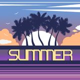Landscape with coastline silhouettes of palm trees, sunset, sun, clouds and birds. Lettering `Summer`. Tropical resort. Flat style. Vector illustration Royalty Free Stock Images