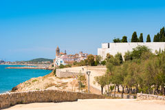 Landscape of the coastline in Sitges, Barcelona, Catalunya, Spain. Copy space for text. Royalty Free Stock Image